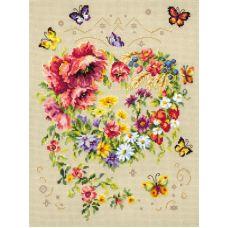 Набор для вышивания крестом Сияние сердца, 26x34, Чудесная игла