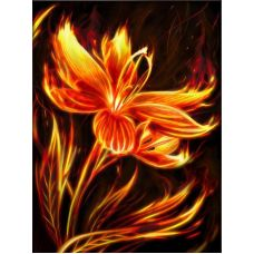 Мозаика стразами Огненный цветок, 30x40, полная выкладка, Алмазная живопись