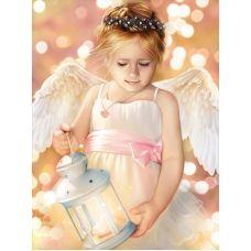 Мозаика стразами Ангел с фонариком, 30x40, полная выкладка, Алмазная живопись