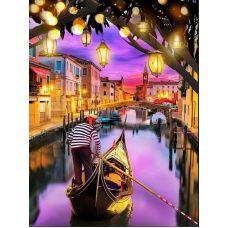 Мозаика стразами Венецианский закат, 30x40, полная выкладка, Алмазная живопись