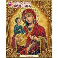 Мозаика стразами Икона Троеручица, 22x28, частичная выкладка, Алмазная живопись