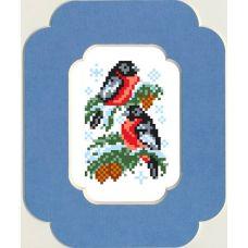 Набор для вышивания с бисером и паспарту Снегири, 13x18 (7x10), Матренин посад