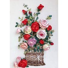 Набор для вышивания лентами, Розы в корзине, 33x50, Любава