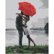 Живопись по номерам Поцелуй под красным зонтом, 40x50, Hobruk, HS1160