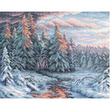 Алмазная мозаика Зимний закат, 48x38, полная выкладка, Brilliart (МП-Студия)