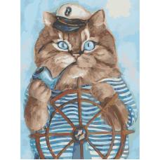 Живопись по номерам Кот моряк, 30x40, Hobruk, HS2051