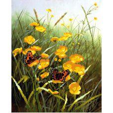 Рисунок на габардине Цветочный луг, 50x40, МП-Студия, Г-009