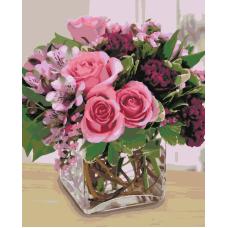 Живопись по номерам Розовый букет, 40x50, Hobruk, U8055
