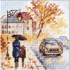 Набор для вышивания крестом Осень в городе. Мокрый бульвар, 7x7, Алиса