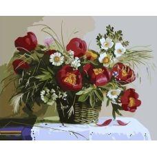 Живопись по номерам Тюльпаны с ромашками, 40x50, Paintboy, GX34571