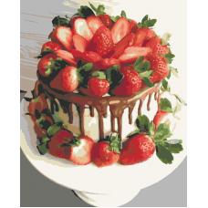 Живопись по номерам Клубничный торт, 40x50, Hobruk, HS1093