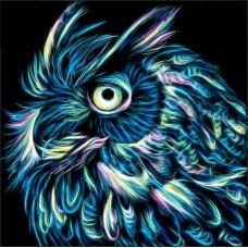 Мозаика стразами Неоновый филин, 25x25, полная выкладка, Алмазная живопись