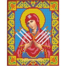 Мозаика стразами Икона Семистрельная Богородица, 22x28, частичная выкладка, Алмазная живопись