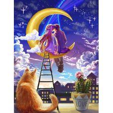 Мозаика стразами Первая любовь, 30x40, полная выкладка, Алмазная живопись