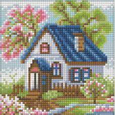 Мозаика стразами Весенний домик, 15x15, полная выкладка, Алмазная живопись