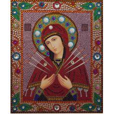 Алмазная вышивка термостразами Богородица Семистрельная, Преобрана