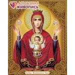 Мозаика стразами Икона Богородица Неупиваемая Чаша, 22x28, частичная выкладка, Алмазная живопись