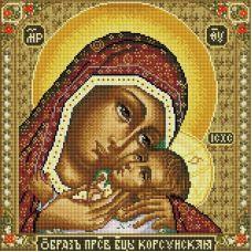 Алмазная мозаика Икона Божией матери Корсунская, 40x40, полная выкладка, Белоснежка