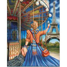 Мозаика стразами Следуй за мной Париж, 40x50, полная выкладка, Алмазная живопись