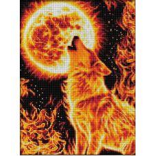 Мозаика стразами Огненный волк, 30x40, полная выкладка, Алмазная живопись