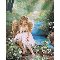 Живопись по номерам Ангелочек у воды, 40x50, Hobruk, U8025