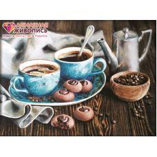 Мозаика стразами Кофейная романтика, 30x40, полная выкладка, Алмазная живопись