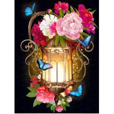 Мозаика стразами Фонарь в пионах, 30x40, полная выкладка, Алмазная живопись
