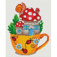 Алмазная мозаика Грибная чашечка, 20x25, полная выкладка, Белоснежка