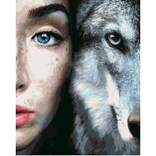 Живопись по номерам Девушка и волк, 40x50, Hobruk, CM0075