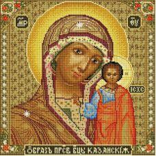 Алмазная мозаика Икона Божией матери Казанская, 40x40, полная выкладка, Белоснежка