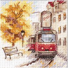 Набор для вышивания крестом Осень в городе. Трамвай, 7x7, Алиса
