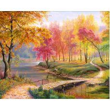Мозаика стразами Осень в старом парке, 40x50, полная выкладка, Алмазная живопись