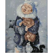 Живопись по номерам Ловит снежинки, 40x50, Hobruk, HS0115