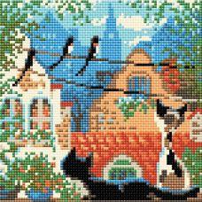 Алмазная мозаика Город и кошки. Лето, 20x20, полная выкладка, Риолис