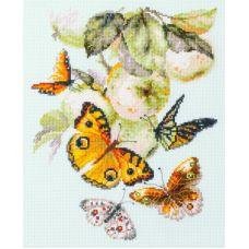 Набор для вышивания крестом Бабочки на яблоне, 21x27, Чудесная игла