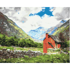 Живопись по номерам Одинокий дом в горах, 40x50, Hobruk, HS0017