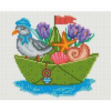 Алмазная мозаика Большое плавание, 20x25, полная выкладка, Белоснежка