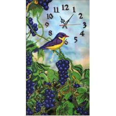 Набор для вышивания бисером на шелке Часы с виноградом, 32x59, Fedi