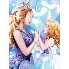 Мозаика стразами Мамина принцесса, 30x40, полная выкладка, Алмазная живопись