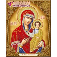 Мозаика стразами Икона Богородица Смоленская, 22x28, частичная выкладка, Алмазная живопись