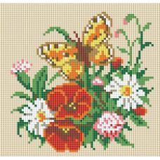 Алмазная мозаика Бабочка на лугу, 20x20, полная выкладка, Белоснежка