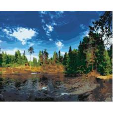 Живопись по номерам Домик у озера, 40x50, Hobruk, U8113