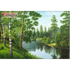 Мозаика стразами Река в лесу, 56x38, полная выкладка, Алмазная живопись