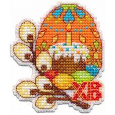 Набор для вышивания крестом Магнит Пасхальное яйцо, 6,3x7,3, Овен
