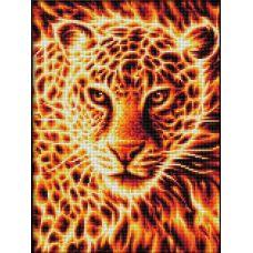 Мозаика стразами Огненный леопард, 30x40, полная выкладка, Алмазная живопись