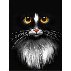 Мозаика стразами Черный кот, 30x40, полная выкладка, Алмазная живопись