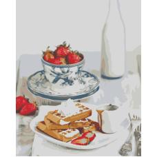 Живопись по номерам Завтрак с клубникой, 40x50, Hobruk, HS1064