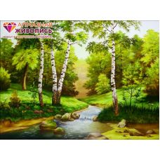 Мозаика стразами Ручей среди берез, 30x40, полная выкладка, Алмазная живопись