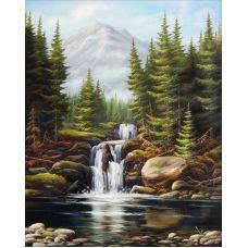Мозаика стразами Бурный водопад, 40x50, полная выкладка, Алмазная живопись