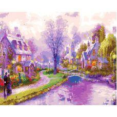 Живопись по номерам Лиловая деревушка, 40x50, Paintboy, GX23679